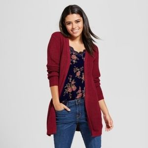 NEW Berry Red Lace-Up Back Cardigan Sweater sz S